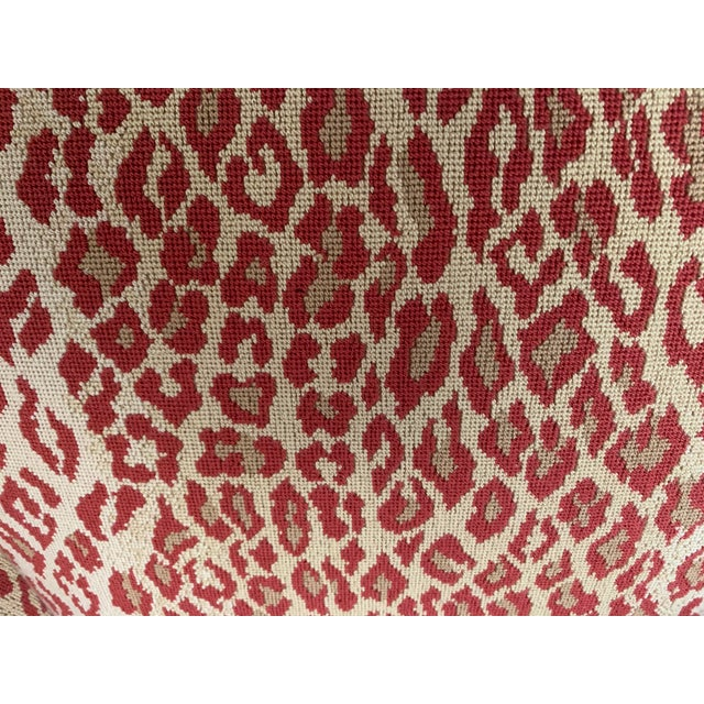 Boho Chic 1940s Vintage Chair in New Thibaut Red Leopard Print For Sale - Image 3 of 8