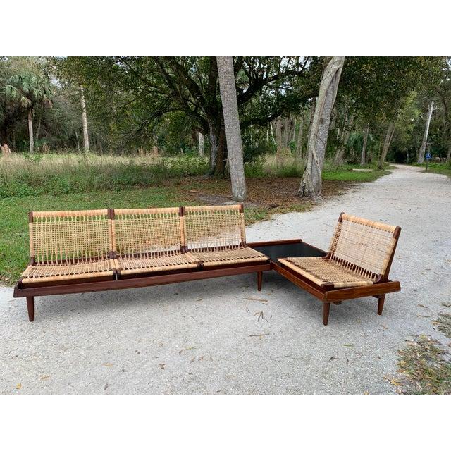 Mid 20th Century Hans Olsen for Bramin Mid-Century Modern Scandinavian Modular Bench Sofa and Loveseat-A Pair For Sale - Image 5 of 13