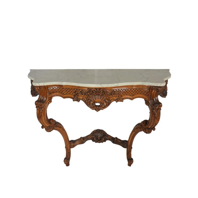 Rococo 1900s French Wall Mounted Marble Console Table For Sale - Image 3 of 10