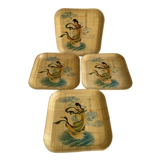 Midcentury Asian Bamboo Geisha Plates, Set of Four For Sale