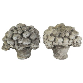 French Garden Ornaments of Fruit Baskets, Pair