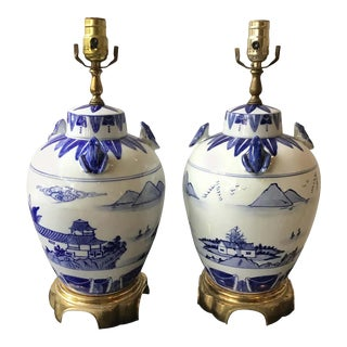 Blue and White Chinese Lamps with Frogs - a Pair For Sale