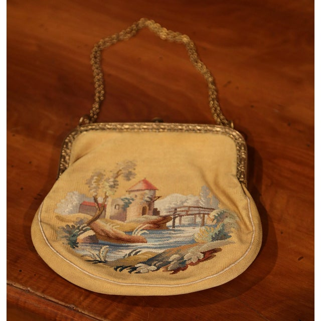 Metal 19th Century French Louis XVI Aubusson Ladies Purse With Brass Strap and Lock For Sale - Image 7 of 9