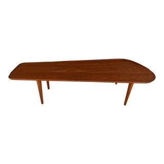 1960s Danish Modern Arne Hovmand Olsen Teak Surfboard Style Coffee Table For Sale