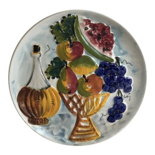 20th Century Italian Hand Painted Fruit and Wine Plate For Sale