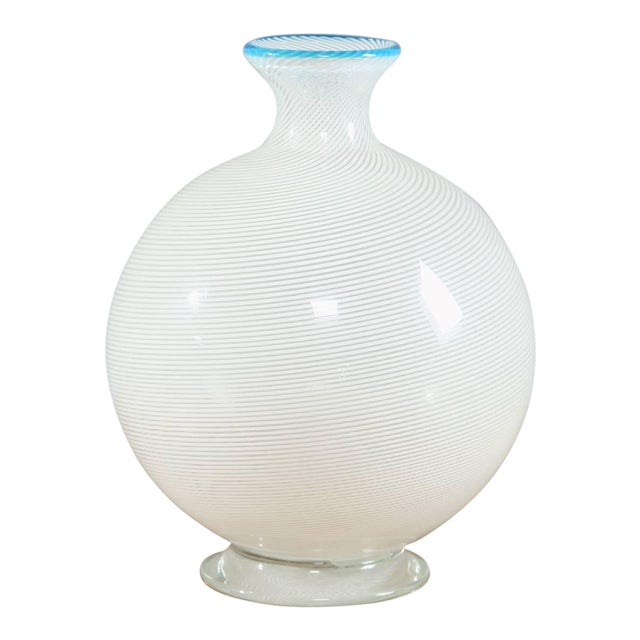 White and Turquoise Murano Glass Vase by Vistosi, Italy, 1950s For Sale