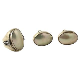 Dawkins Pearl & Silver Earrings & Ring For Sale