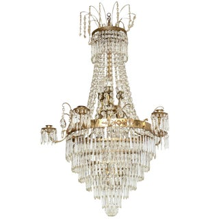 Antique Swedish Crystal Chandelier Mid 19th Century For Sale