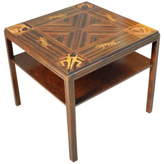 1930s Art Deco Inlaid Zodiac Side Table For Sale