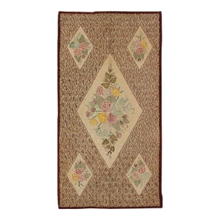 ,Large Antique American Hooked Rug With Latticework Background & Floral Bouquet For Sale