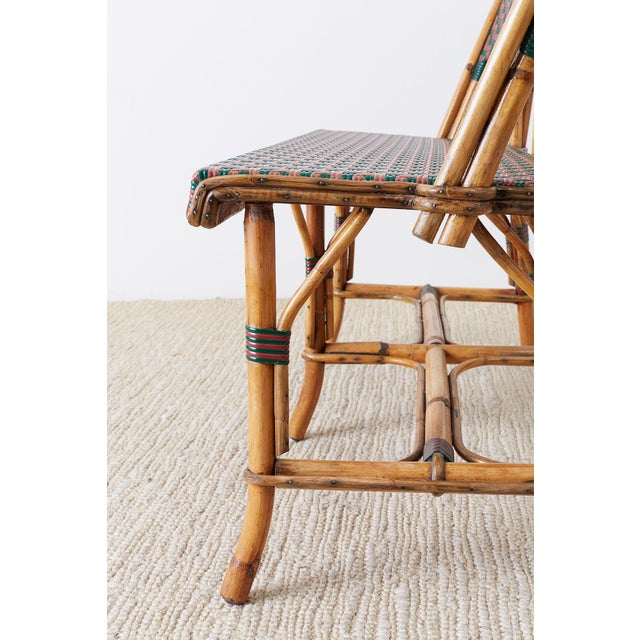 French Maison Gatti Rattan Bamboo Banquette Settee For Sale - Image 9 of 13