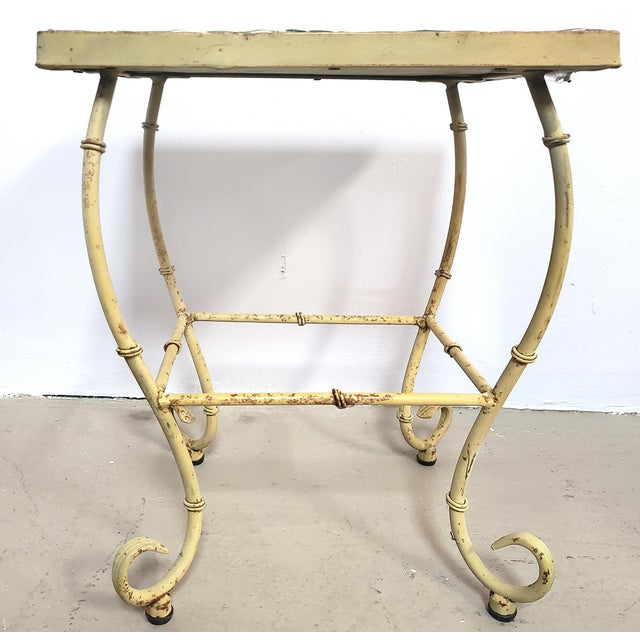 Metal Vintage Asian Chinoiserie Wrought Iron & Tile Top Side Table For Sale - Image 7 of 8