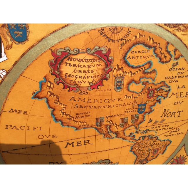 """Large Hand Painted Map of the World 1613 Nova Totivs Terrarvm 64"""" For Sale - Image 4 of 9"""