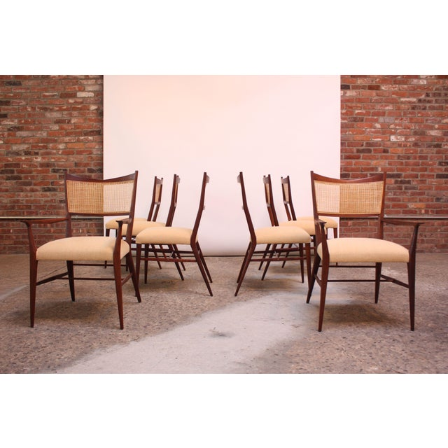 Mid-Century Modern Set of Eight Stained Mahogany and Cane Directional Dining Chairs by Paul McCobb For Sale - Image 3 of 13
