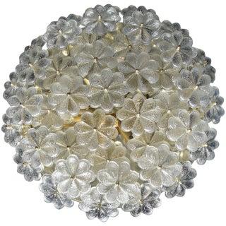 1960s Large Ernst Palme Floral Glass Sconce Flush Mount For Sale