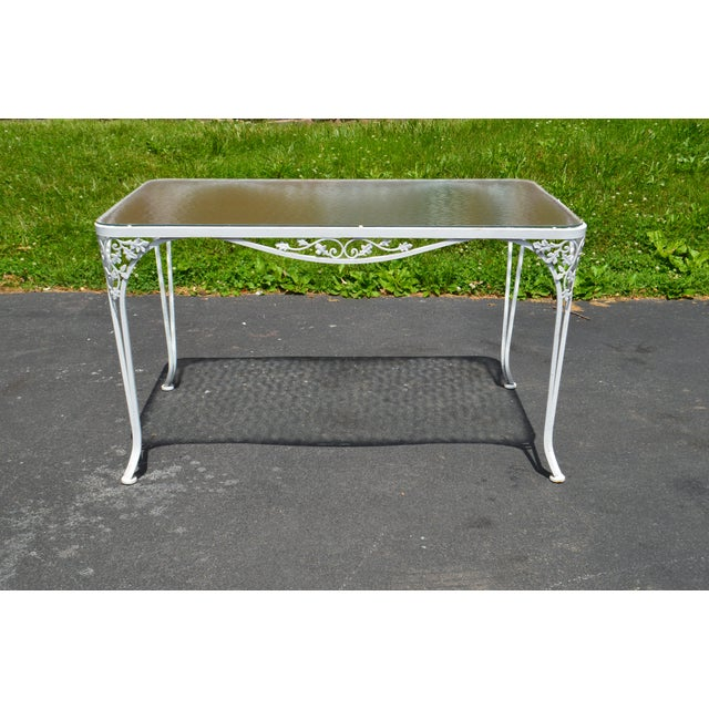Woodard Ivy Vintage White Wrought Iron Patio Glass Top Table 6