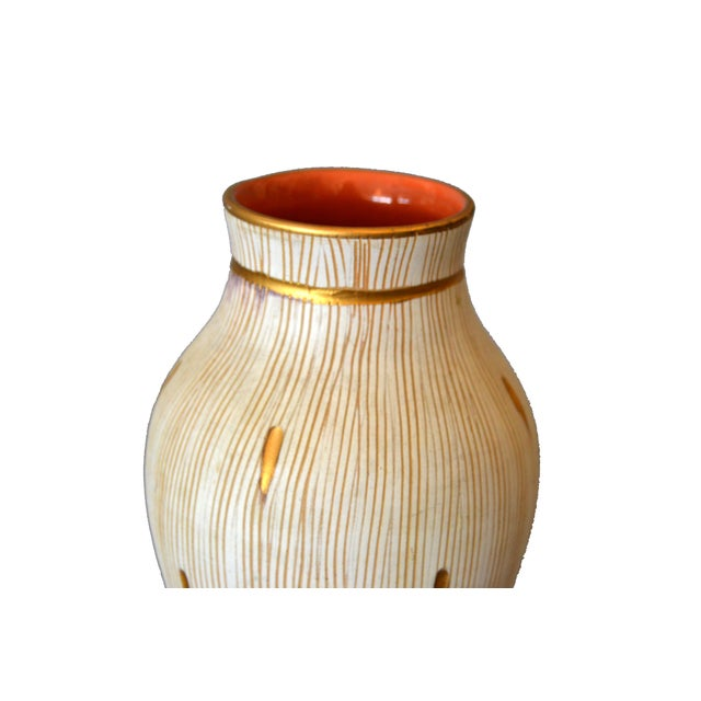 Italian Mid-Century Modern Gold Leaf & Beige Hand-Crafted Ceramic Glazed Vase For Sale In Miami - Image 6 of 11