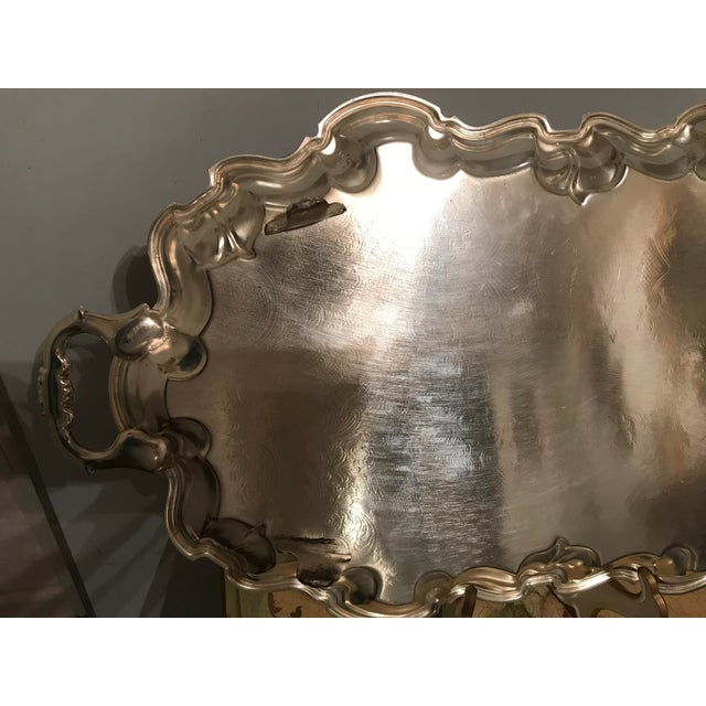 Vintage Poole Silverplate Footed Scalop Tray For Sale - Image 10 of 13