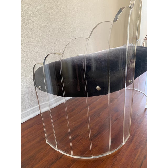 """Black 1970s Vintage Charles Hollis Jones for Hill Mfg Clear Lucite """"Angel Wings"""" Bench For Sale - Image 8 of 12"""