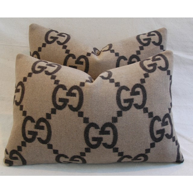 """Gucci 23"""" X 16"""" Custom Tailored Gucci Cashmere & Velvet Feather/Down Pillows - Pair For Sale - Image 4 of 11"""