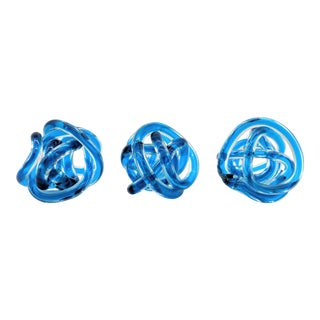 Contemporary Cobalt Blue Knots - Set of 3 For Sale