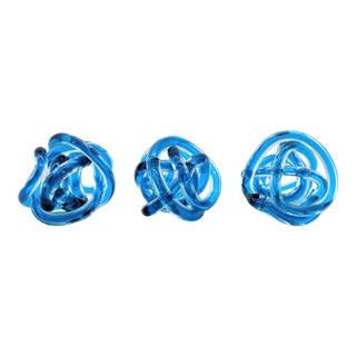 Contemporary Cobalt Blue Knots - Set of 3 For Sale