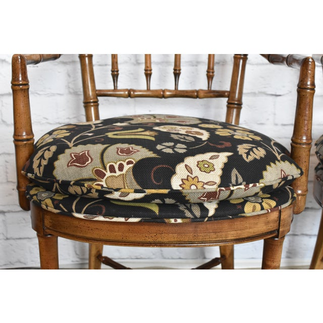 Drexel Heritage Faux Bamboo Chairs - A Pair For Sale - Image 5 of 11