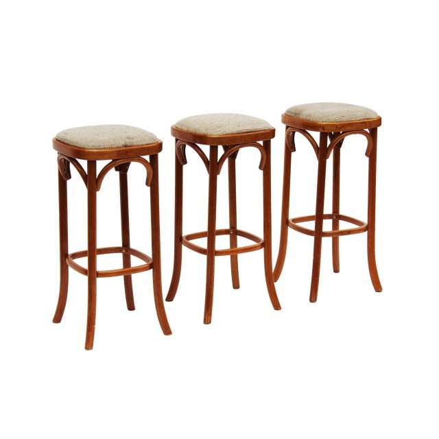 Rattan Barstools - Set of 3 - Image 1 of 4