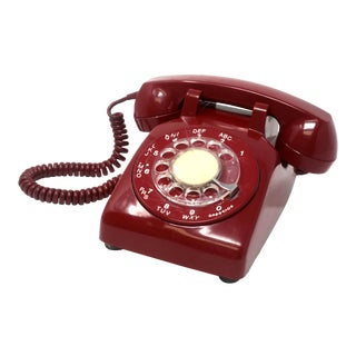 1960's Vintage Northern Electric Maroon Rotary Telephone