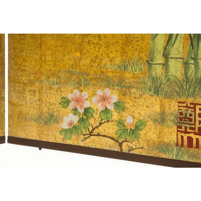 """Bronze Lawrence & Scott Chinese Inspired """"Bamboo Scene With Poem"""" Hand-Painted Gold Foil 2-Panel Screen For Sale - Image 8 of 13"""