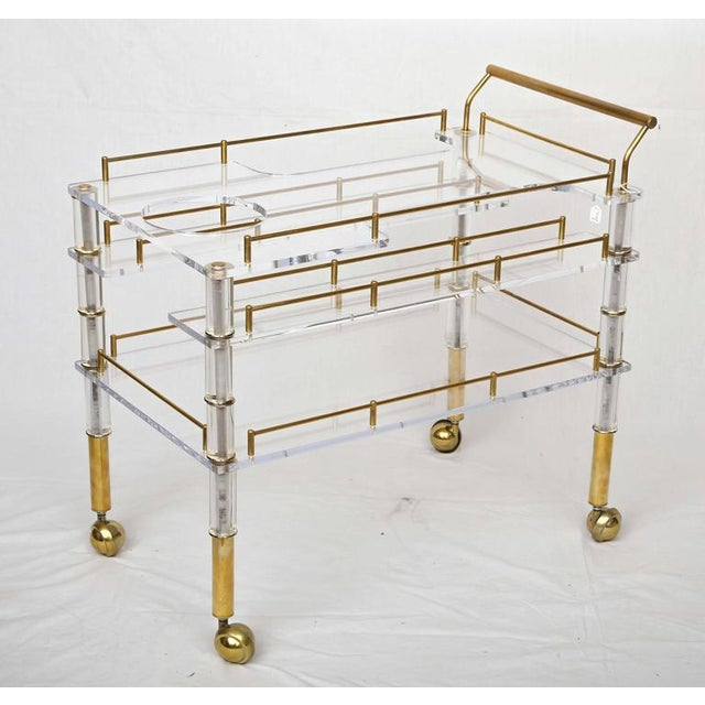 Lucite and Brass Bar Cart on Casters in the Style of Hollis Jones - Image 9 of 9