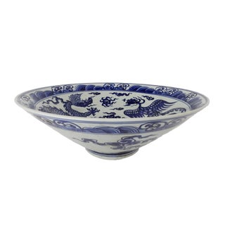 Ink Blue & White Painted Bowl For Sale
