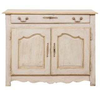 French Painted Wood Buffet in Pale Blue With Gold, Green and Beige Trim For Sale