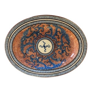 Davenport Red and Blue Asian Dragon Plate For Sale
