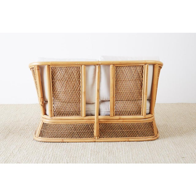 Midcentury Bamboo Rattan Wicker Settee or Loveseat For Sale - Image 11 of 13