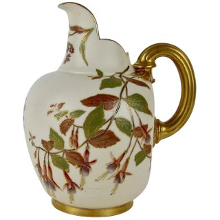 Antique Royal Worcester Porcelain Pitcher From 1890 For Sale