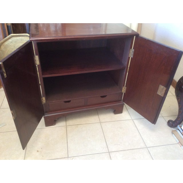 Regency Classic Mahogany Two Door Cabinet With Handles For Sale - Image 3 of 10