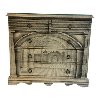Fornasetti Style Italian Architectural Dresser For Sale
