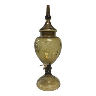 Beverage Dispenser Vintage With Etched Glass Dispenser & Brass Spout For Sale
