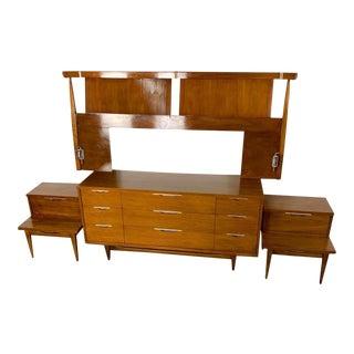 Kent Coffey Tableau Walnut Bedroom Set For Sale