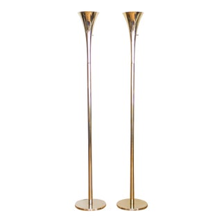 Mid Century Brass Torchiere Floor Lamp For Sale