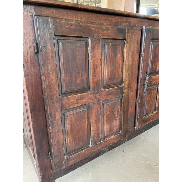 Antique Rustic French Country Louis XIV Hardwood Two Door Storage Cupboard For Sale - Image 4 of 13