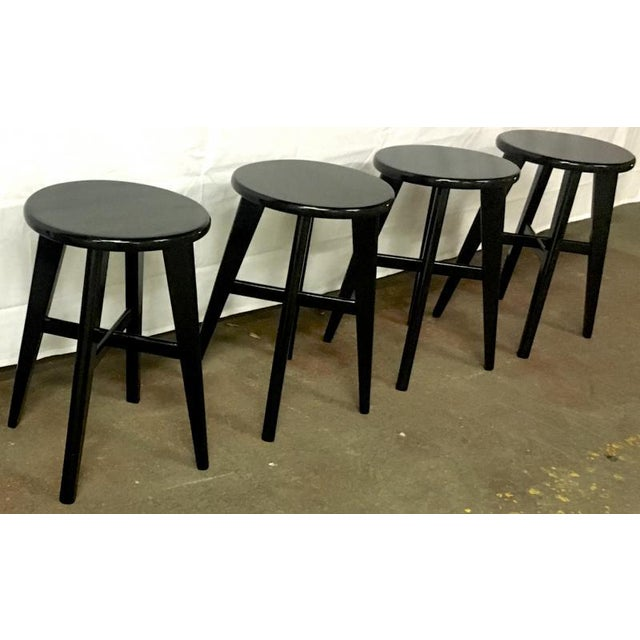 Nice Mid Century Set of 4 Small French Black Stools For Sale - Image 4 of 5