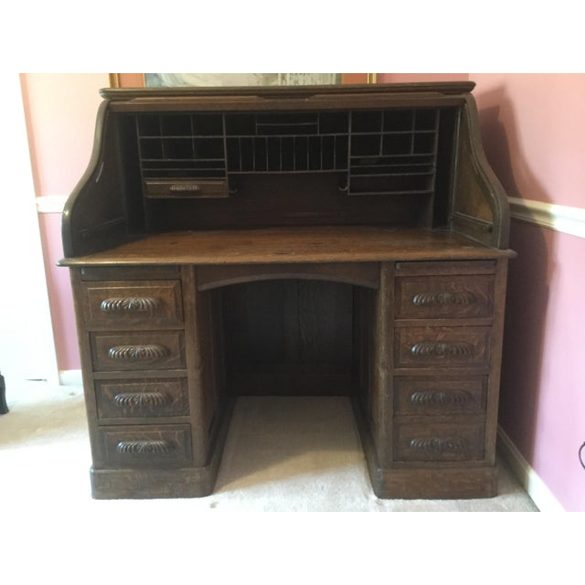 Brown 19th Century American Classical RollTop Desk For Sale - Image 8 of 8