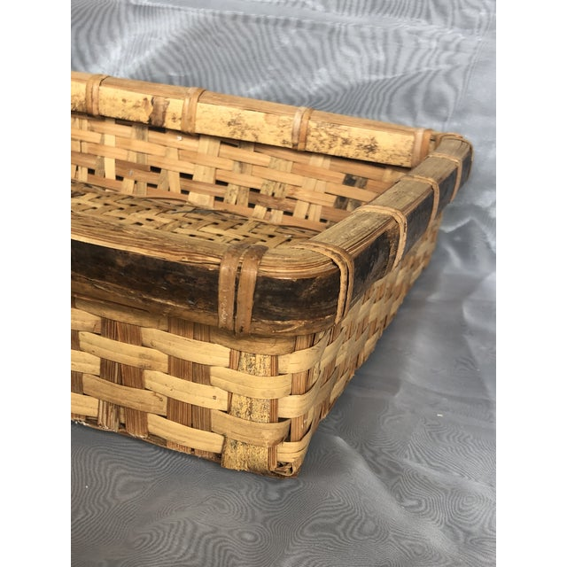 Late 20th Century Large Woven Bamboo Tray Basket For Sale - Image 9 of 13