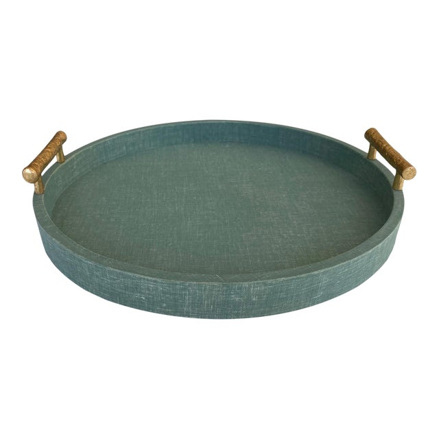 Medium Size Green Linen Wrapped Round Tray With Gold Handles For Sale