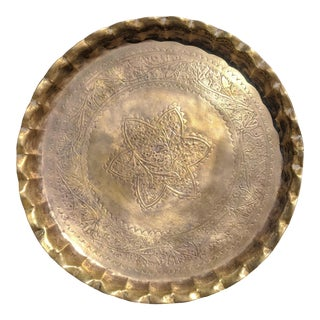 Vintage Brass Moroccan Tray Wall Hanging For Sale
