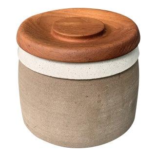 Vintage Swedish Ceramic Stoneware Jar With a Teak Lid For Sale