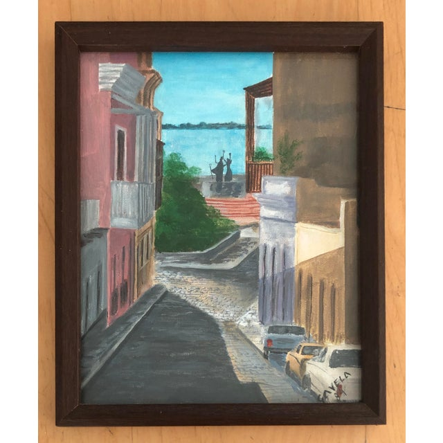 Wood Italian Cityscape Painting, Signed 1984 For Sale - Image 7 of 7