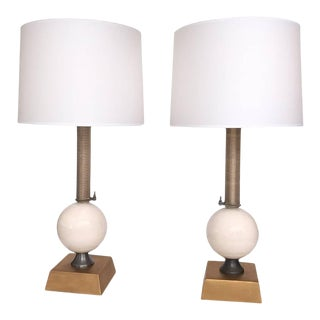 American Industrial Style Metal and Porcelain Lamps by Jim Misner - a Pair For Sale